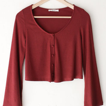 Ribbed Knit Crop Sweater - Burgundy