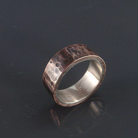 hammered bronze ring rustic wedding ring inner sterling silver ring band mens ring 8mm wide wedding ring