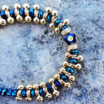 Metallic blue swarovski evil eye bracelet, women, birthday, girl, christmas, elegant, stylish, gold, birthday, crystal, old frump