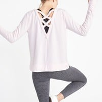 Lattice-Back Sweatshirt for Women |old-navy