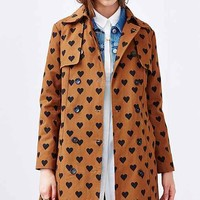 Compania Fantastica Heart Print Belted Trench- Brown