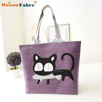 New Fashion2016 New Trend American Apparel Women Bags Cute Canvas Shoulder Bag Cat Print Casual Messenger Shopping Bag
