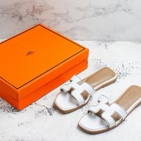 Hermes Oran H Exotic White Lizard Sandals Slippers Flats - Best Deal Online