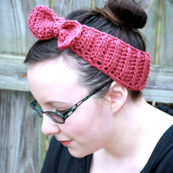 Rosie the Riveter WWII winter Headband vintage hair accessory inspired pink or mauve rose
