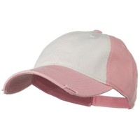 Superior Garment Washed Cotton Twill Frayed Visor Cap - Pink White Pink