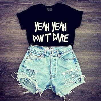 Women Midriff-baring yeah Print T-Shirts Top +Free Gift -Random Necklace-124