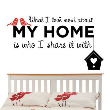 What I Love Most About My Home -  Wall Decal Sticker