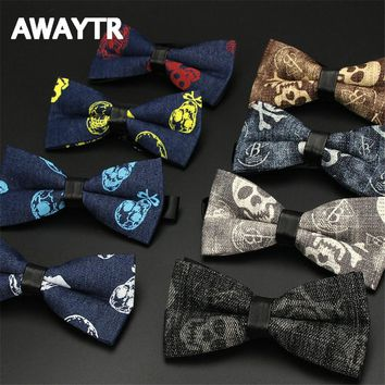 Classic Black Skull Printed Neck Tie for Wedding Men Fashion Business Bow Tie Neckwear Denim Print Bowtie 12*6cm