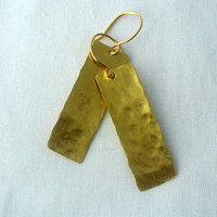 Rectangle Gold Drop Earrings - Distress Look