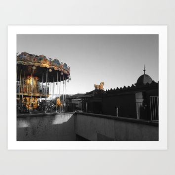 Paris Eiffel tower carousel black and white with color GOLD Art Print by Mr Splash