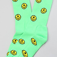 The Smiley Socks in Lime
