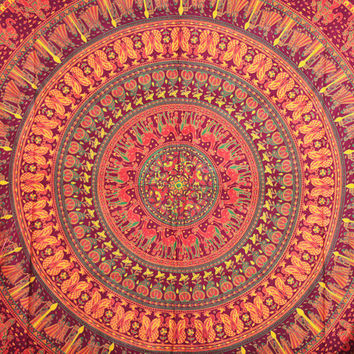 Camel Mandala Tapestry, Elephant Mandala Wall Hanging, Mandala tapestries, Bohemian Tapestries. Beach sheet. Queen Mandala Bedspread, Decor
