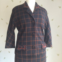 1930's Ladies Suit ~ Jacket & Skirt ~ Navy and Brown Plaid ~ 29 W ~ Vintage 30's