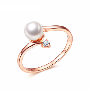 NEWBARK Fashion Pearl Ring - Rose Gold/Platinum