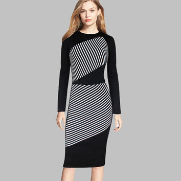 Long Sleeve Spring Dress New Fashion  Women Striped Print Vintage Dress European Style Lady Elegant Pencil Dresses Workwear