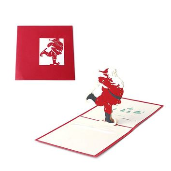 3D Stereoscopic Holiday Greeting Cards Santa Claus Christmas Thanksgiving Gift -Y102