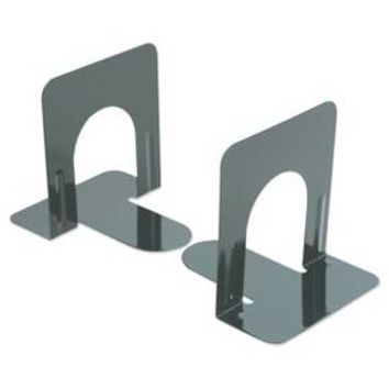 Universal® Economy Bookends, Standard, 4 3/4 x 5 1/4 x 5, Heavy Gauge Steel, Black