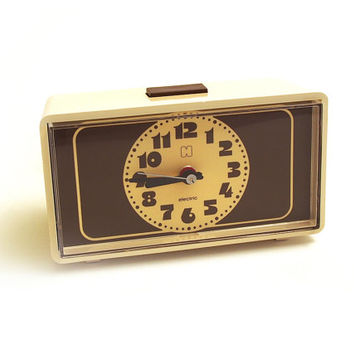 Retro cream and chocolate brown Alarm Clock. Electric brand. Made in Germany.
