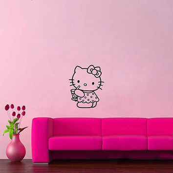 Wall Mural Vinyl Sticker Decal  KITTEN DRESS BOW COCKTAIL DA861