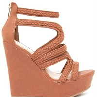 A'GACI Kingsley 04 Braid Trim PU Strappy Platform Wedge - Shoes
