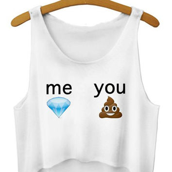 Me and You Printed Sleeveless Crop Top