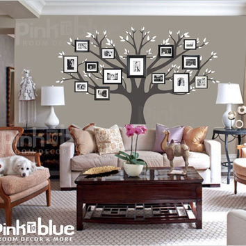 Family Tree Wall Decal  Picture Frame Tree by pinktoblue on Etsy