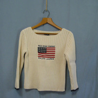 Vintage Misses PL Ralph LAUREN Polo Jeans Co Cotton SWEATER, (Petite Large) Embroidered Patriotic 3/4 Sleeves Short Length, 1980's Sweater
