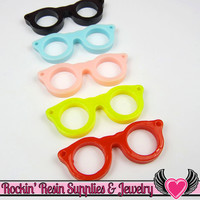 Geeky EYE GLASSES Resin Flatback Decoden Kawaii Cabochons 42x16mm (10 pieces)