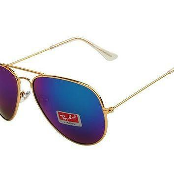 Ray Ban Aviator Gradient RB3025 Purple Gold Sunglasses