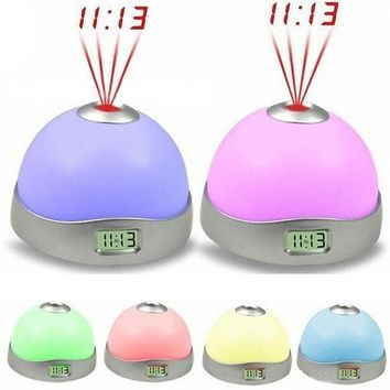 New 7 Colors LED Change Star Night Light Magic Projector Backlight Clock 913