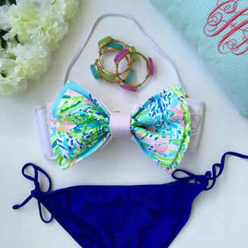 Lilly Pulitzer Fabric Bikini Bow in Blue Heaven / Detachable for Reversible Seersucker Side / Made for Bandeau Tops / (Bikini Not Included)