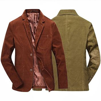 Fashion Brand Male Winter Business Suit Jacket Coat Retro Style Slim Fit Men Corduroy Blazer Casual Elbow Design Gold Brown