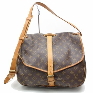 Authentic Louis Vuitton Shoulder Bag Saumur35 M42254 Browns Monogram 28472