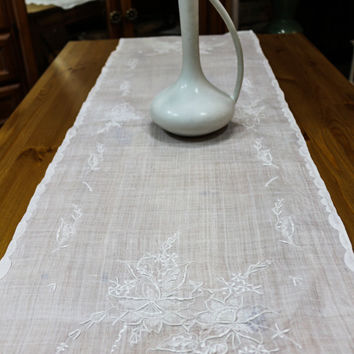Sheer Batiste Table Runner, White Embroidered Table Runner, Embroidered Flowers, Shabby Chic, Farmhouse Decor, Vintage Linens