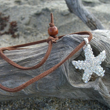 Starfish Crystal Pendant Necklace-SILVER SPARKLE-Stocking Stuffers, Gifts under 15, Christmas Gifts, Hanukkah, Mermaids, Starfish, Beach
