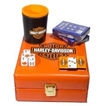 Harley-Davidson Deluxe Set 3 Games: Dominó, Dice Cup, 2 Poker Cards