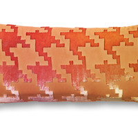Houndstooth 7x15 Velvet Pillow, Pink, Decorative Pillows