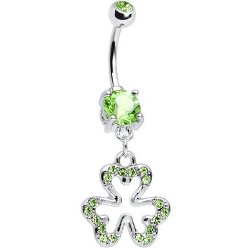 Peridot Cubic Zirconia Brilliant Three Leaf Clover Dangle Belly Ring