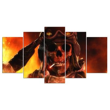5 Piece Canvas Art Fire Flames Smoking Army Skull Poster Wall Picture Poster