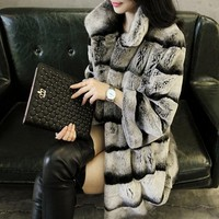 LIYAFUR New Designer 80cm Vintage Natural Rex Rabbit Chinchilla Fur Winter Long Coat Jacket with Fur Collar For Women