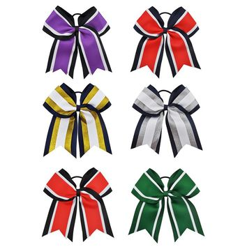 8 Inch Cheerleading Hair Bows With Elastic Bands