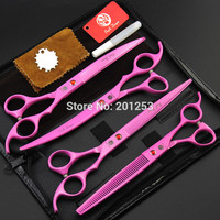 4Pcs/set 8.0Inch JP440C Pink Pet Grooming Scissors Painted Dog Shears for Home Used Straight &Thinning&Curved Scissors LZS0609