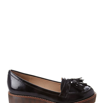 FOREVER 21 Tasseled Platform Loafers Black