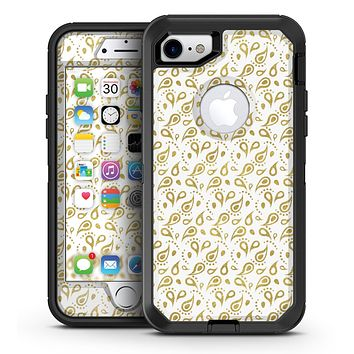 White and Gold Foil v9 - iPhone 7 or 7 Plus OtterBox Defender Case Skin Decal Kit