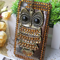Vintage Rhinestone Owl Case for iPhone