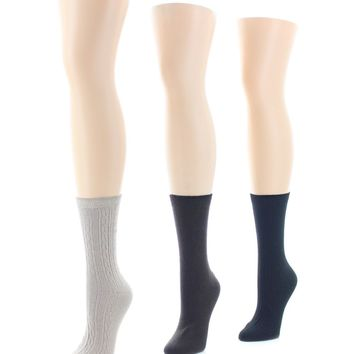 Rib/Flatknit/Texture (6 Pair) Soft-Fit Crew Socks