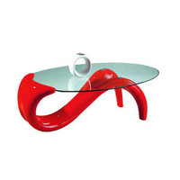 Coffee, Side and End Tables: Modern Coffee Table with Red Curved Base - American Eagle Furniture