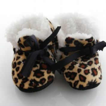 Brown and Yellow Cheetah Print Handmade Furry Shoes for Baby Girls