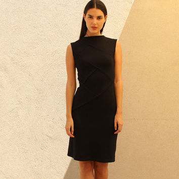 Little Black Dress with Diagonal Stitching
