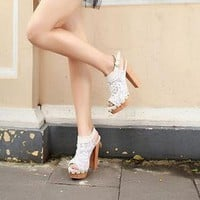 YESSTYLE: Mancienne- Lace Slingback Sandals (White - 38) - Free International Shipping on orders over $150